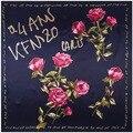 Nuevo Estilo de la Primavera Otoño Moda Mujer Bufanda 90 Cm * 90 Cm Satén Bufandas Patrón Ken Carta Flor de Rose Pañuelos de Seda de Emulación