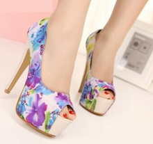 Sweet flower printed women's pumps open toe woman platform shoes high heels sexy ladies shoes floral zapatos mujerWSH281