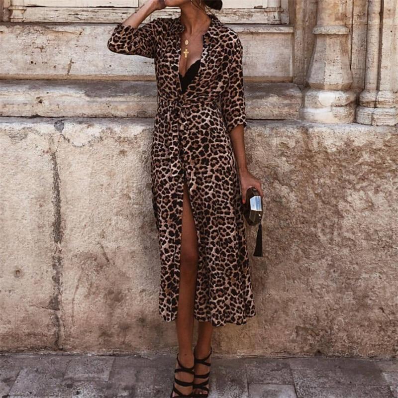 Leopard Print Bikini Cover Up Kimono Women Boho Long Sleeve Long Cardigan Beachwear Casual Loose Beach Dress For Women Swimsuits