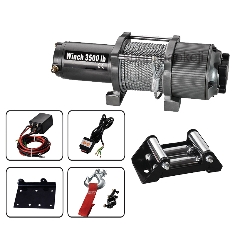 Electric winch Car truck auto barge trailer hand puller self-rescue winch conversion traction winch 3500lb 12V small crane winch 3500lb winch electric winch 12v 4x4 utv atv winch free shipping