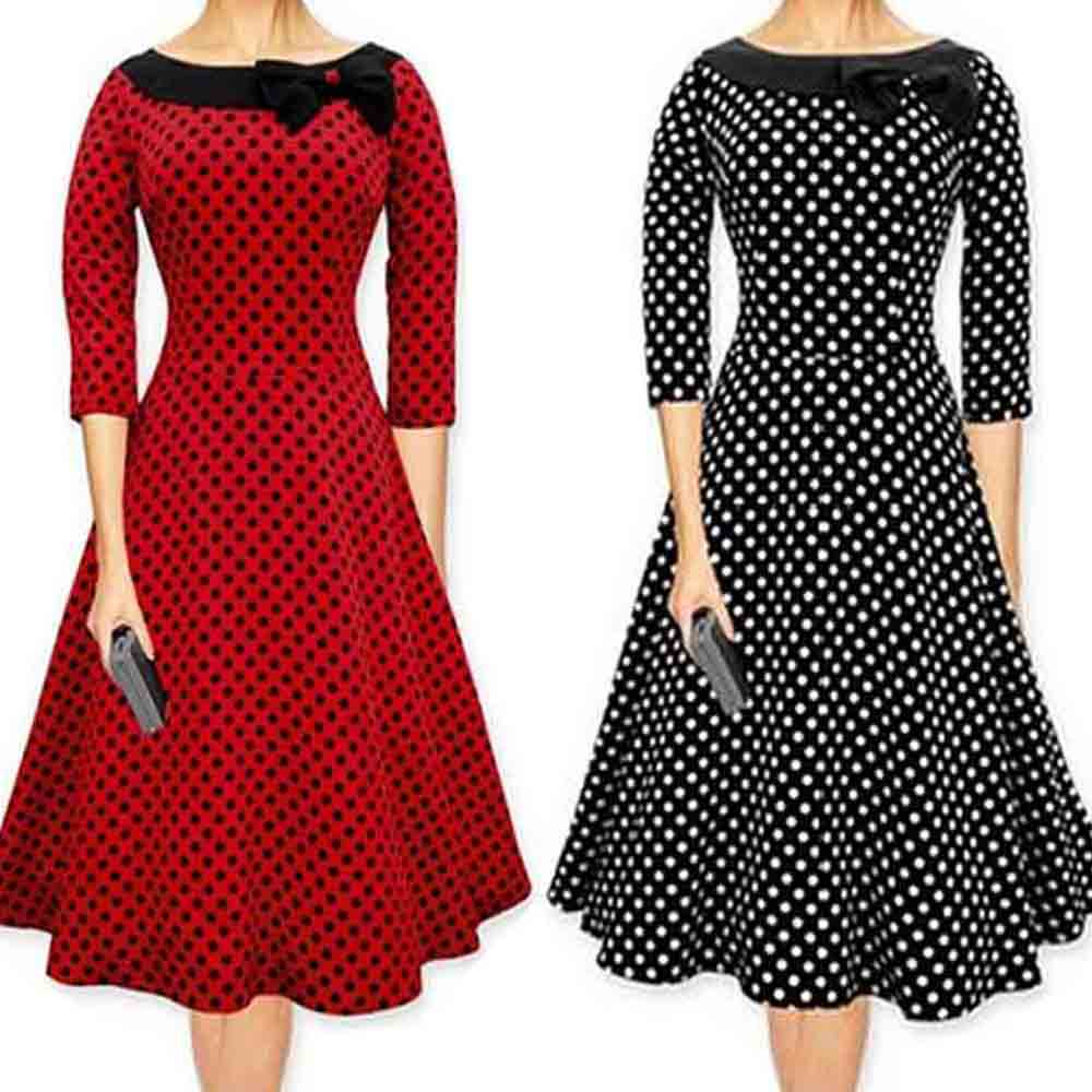 Polka font b Dot b font Dress Summer Dresses Casual Dress Bow Pin Up Swing font 3 dots clothing promotion shop for promotional 3 dots clothing on,3 Dots Womens Clothing