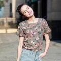 Chegada nova Individuação T-Shirt Verão Moda Impresso Top T-shirt Para As Mulheres Magro Roupas Para Mulheres Alienígena Camiseta Femme