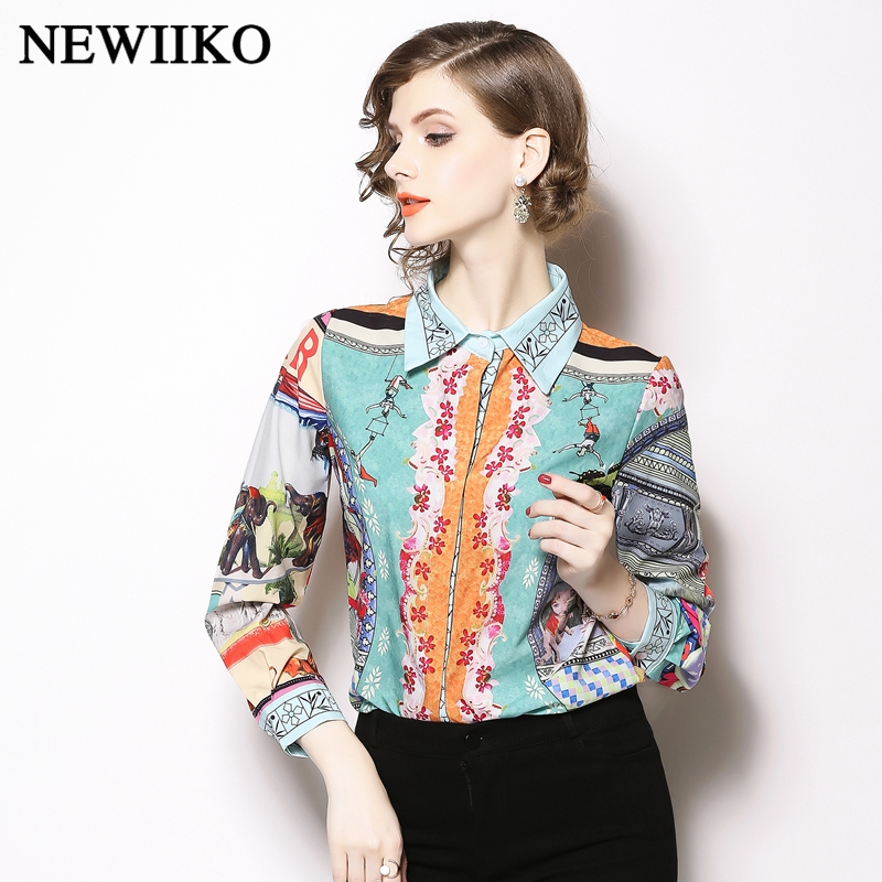 2ea66e9c8827b20 Новые весенне-осенние женские повседневные рубашки с отложным воротником и  принтом, элегантные офисные женские