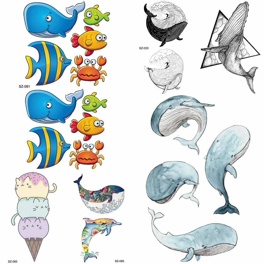 YURAN Cute Flash Children Arm Tattoo Stickers Baby Hands Fish Temporary Tattoo Watercolor Whale Dolphin Flash Tatoos Women Ocean