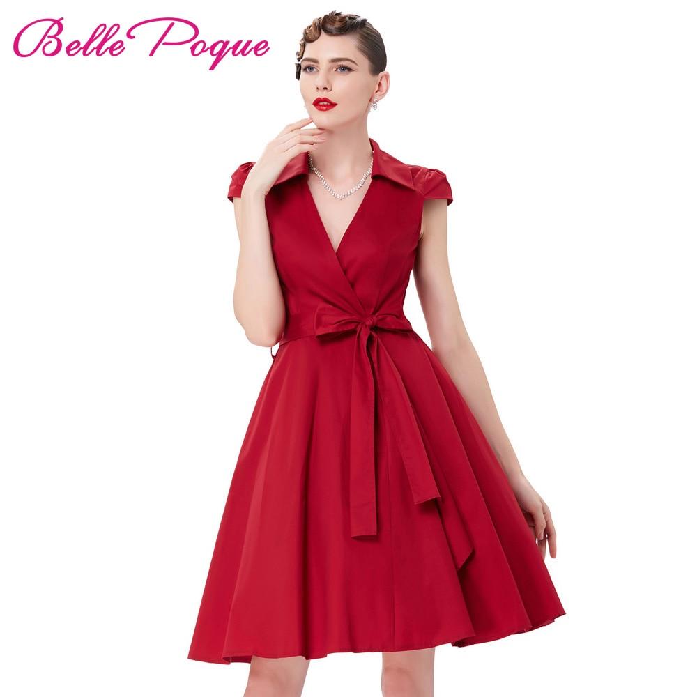 Vestido de verano de las mujeres 2018 Sexy Red Deep V Neck Midi - Ropa de mujer