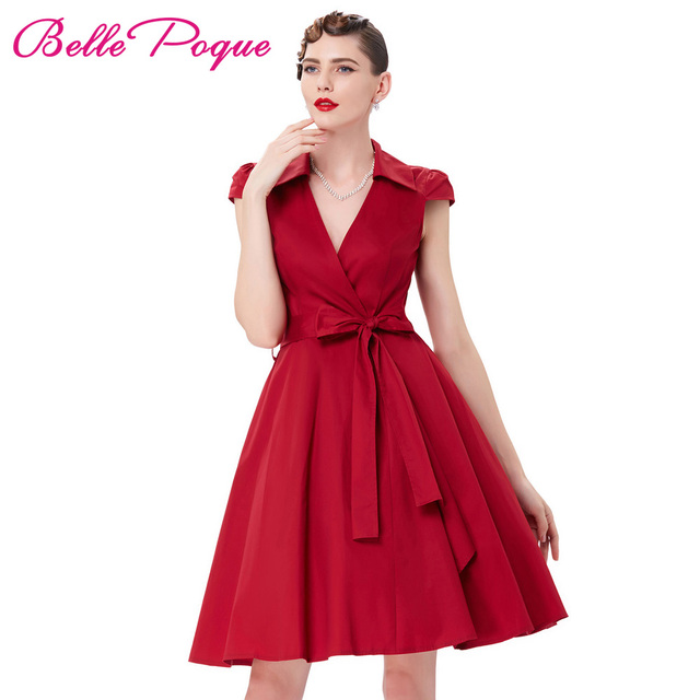 Pinup Dress Summer Women 2018 Sexy Red Deep V Neck Midi Long Robe Retro  Rocakbilly Vintage 50s 60s Swing Dresses With Bow Belt e8d2c81a8b35