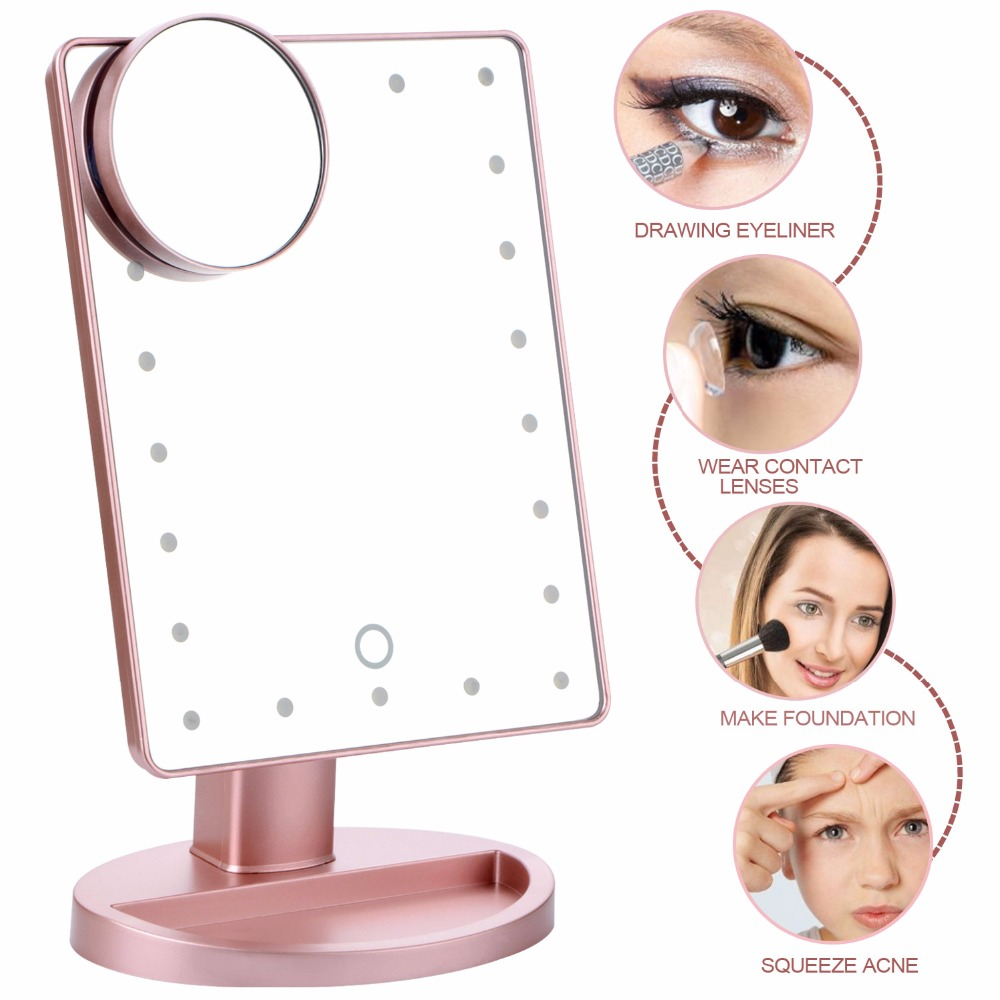 180Degree Rotating Beauty Makeup Mirror With LED Lamp 10X Magnifying Mirror & Suction Cups Vanity Bathroom Livingroom Accessory