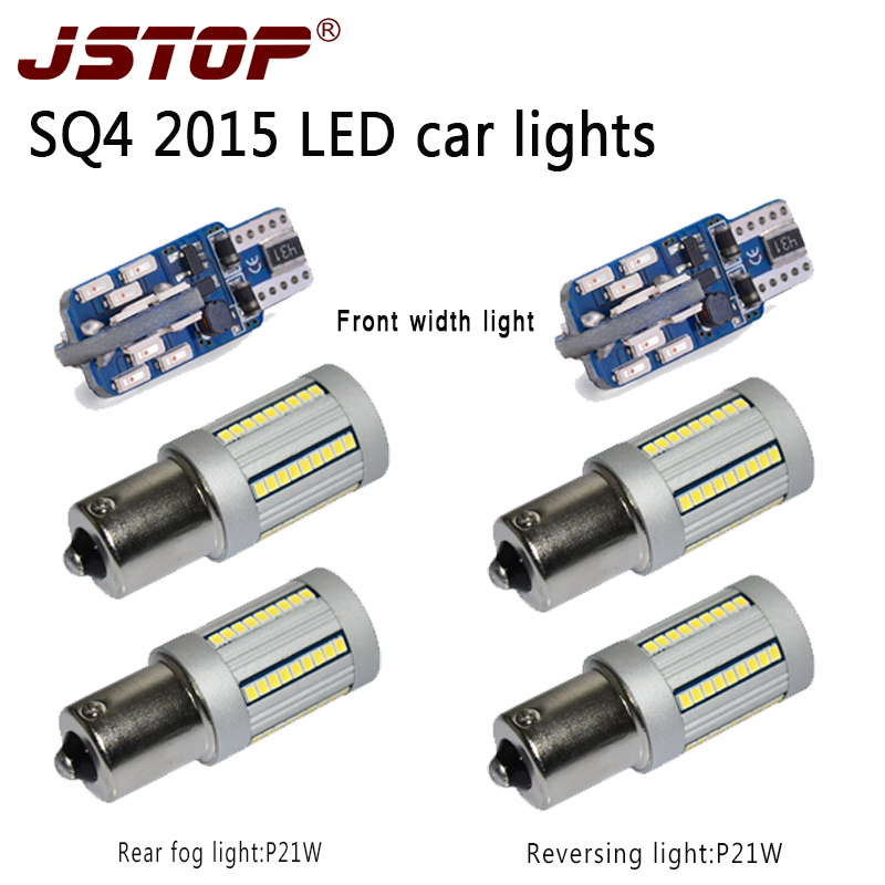 JSTOP 6pcs/set 2015 SQ4 led Reversing lights canbus bulbs No error 12-24V led Ba15s 1156 P21W Rear fog lamps T10 W5W width Light ruiandsion 2x75w 900lm 15smd xbd chips red error free 1156 ba15s p21w led backup revers light canbus 12 24vdc