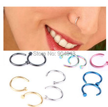 2pcs Medical Nostril Titanium Gold Silver Nose Hoop Nose Rings clip on nose ring Body Fake
