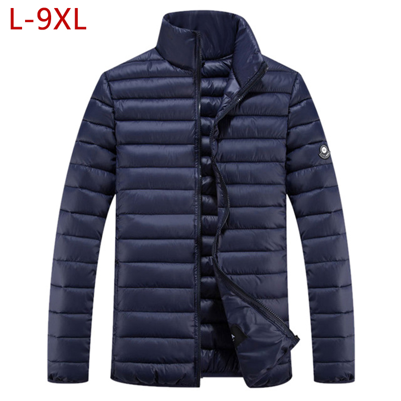 Plus Size 9XL Short Warm Thick Outwear Softshell Men's Winter Jacket Male Coat Ultralight Down   Parkas   Overcoat 5XL 6XL 7XL 8XL