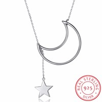Wholesale 925 Sterling Silver Sweater Chain Necklaces Silver Moon Star Pendant Necklaces Jewelry Collar Colar De