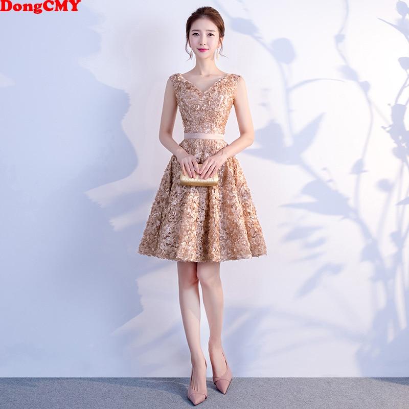 DongCMY Short Mini Sexy Cocktail Dresses Elegant Junior Plus Size Zipper Champage Color Party Gown