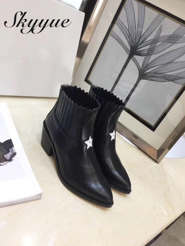 SKYYUE New Genuine Leather Pointed Toe Slip On Women Boots Thick Heel Cowboy Women Winter Ankle Boots Shoes Women new arrival genuine leather pointed toe fashion winter boots rivets thick heel slip on chelsea boots handmade ankle boots l93