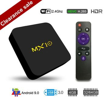 MX10 4 Гб DDR4 64 Гб памяти на носителе eMMC Android 8,1 9,0 ТВ коробка RK3328 4 ядра с разрешением 4 K HDR 2,4 ГГц WI-FI USB 3,0 Смарт Декодер каналов кабельного телевидения медиа PK MX9 PRO