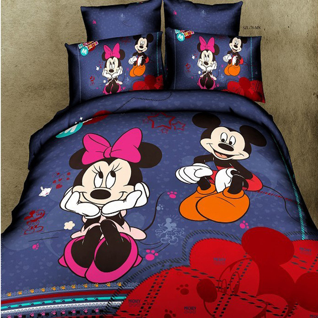 5 pcs couette mickey mouse et minnie mouse literie queen housses de couette linge de lit en. Black Bedroom Furniture Sets. Home Design Ideas