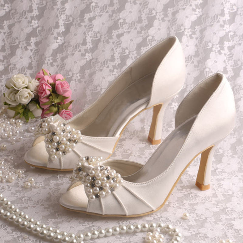 ФОТО Women's Wedding Super High Heels Peep Toe Party Pearl String Satin Bridal Bridesmaid's Side Opening Shoes Pumps 7090-11 ZHL