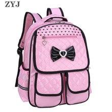 ZYJ бантом Девушки Начальная Школа Рюкзаки Водонепроницаемый розовый детская кожаная рюкзак Princess рюкзак Mochila школьная сумка