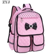 ZYJ Bowknot Girls Primary School Backpacks Waterproof Pink Leather Kids Backpack Princess Daypack Mochila Bag