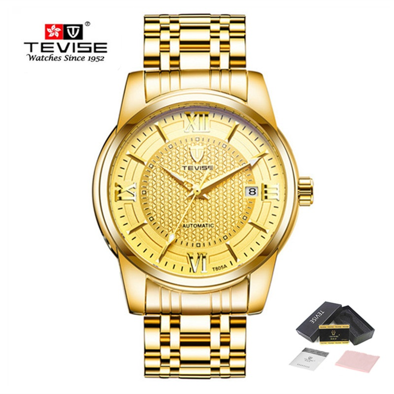 Brand TEVISE Business Watch Men Luxury Automatic Mechanical Watches Stainless Steel Waterproof Fashion Casual Wrist Gold Watch 2016 new ladies fashion watches decorative grape no word design gold watch stainless steel women casual wrist watch fd0107
