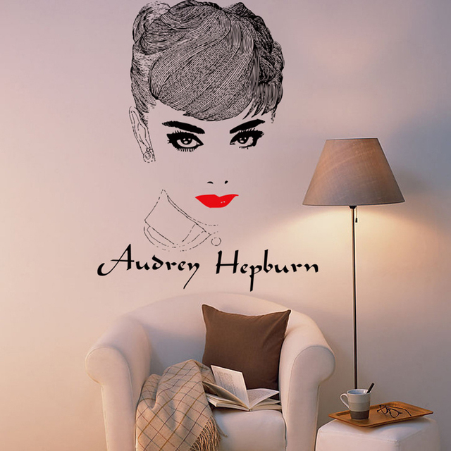 Amazing 3d Audrey Hepburn Wall Stickers Removable Bedroom Wall Decals Home  Decor Wall Poster School Stickes Part 80