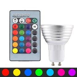 220 В светодиодный RGB лампа E27 MR16 GU10 12 В светодиодный светильник лампа 220 В 3 Вт волшебный умный дом RGB светильник ing + дистанционное управление 16 ...
