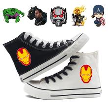 Marvel Hero Kapitän Amerika Ghost Rider Ant-Man Druck Cartoon Hohe Ferse Canvas Obermaterial Turnschuhe College-Mode Turnschuhe A193291(China)