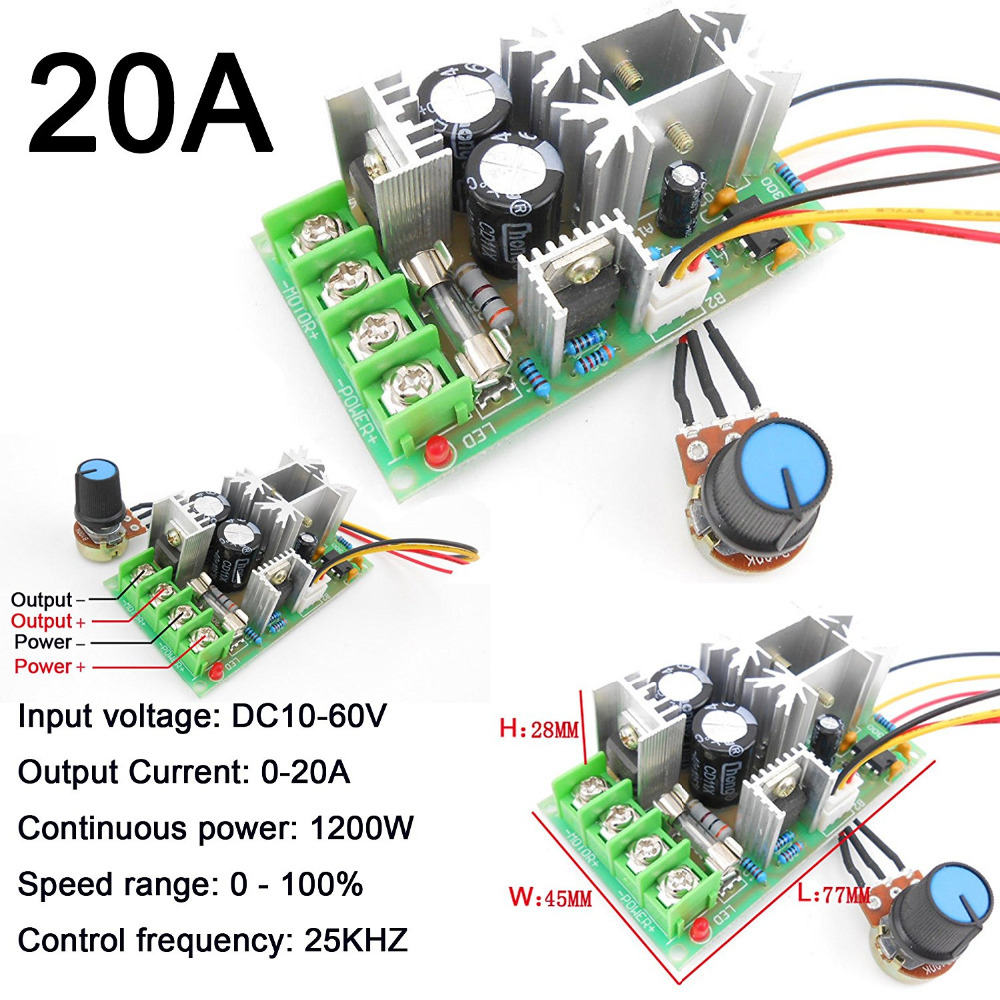 1Pc DC Motor Wide Voltage PWM High Speed 10V-60V Max 20A 1200W Frequency 25Khz LED Dimmer for DIY Panel LED Strip Light бритва электрическая panasonic es 3042 s