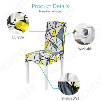 Geometric Print Stretchable Chair Cover For Dining Chairs 3 Chair And Sofa Covers