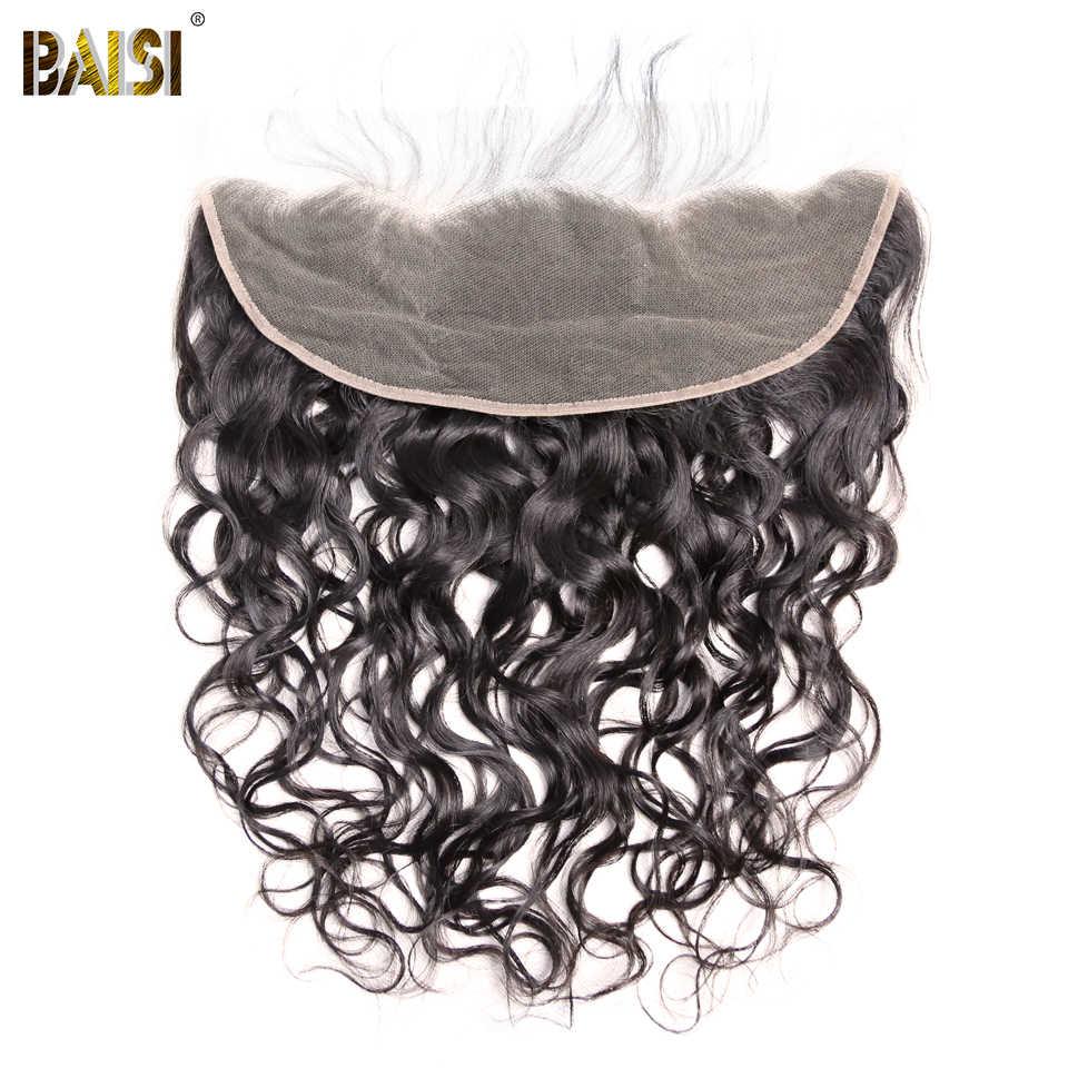 Pelo de BAISI pelo indio virgen onda de agua cabello sin procesar tejido 3 paquetes con 13x4 cabello humano Frontal 100%