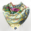 New Arrival Fashion Women Polyester Silk Scarf Shawl Printed Spring Autumn New Design Green Satin Large Square Silk Scarves