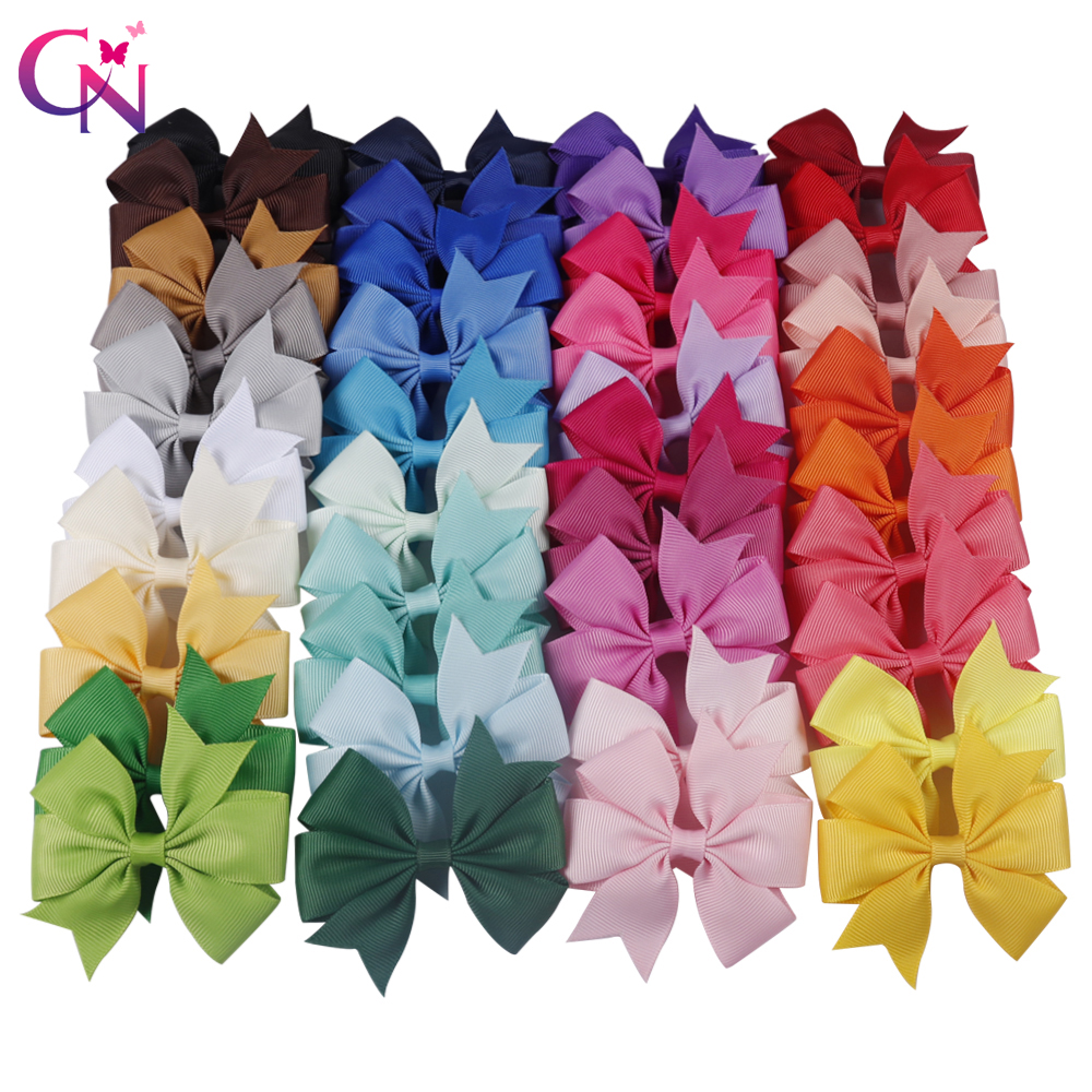 CN 20-40pcs 40 Colors Pinwheel Ribbon Bows Clips Hairpin Girl's Hair Bows Boutique Hair Clips Headware Kids Hair Accessories