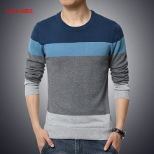 L G 2017 New Autumn Fashion Brand Casual Sweater O-Neck Striped Slim Fit Knitting Mens Sweaters And Pullovers Men Pullover Men