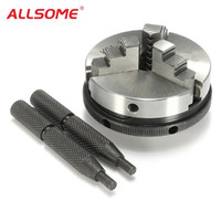 ALLSOME 3 Jaw Metal Lathe Chuck 2.5 63mm Mini Chuck with 2pcs Lock Rods For M14 Metalworking Machine Accessories Tools HT2025