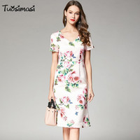 2018 spring summer short sleeve V neck rose printing satin slim pencil dresses( C042)