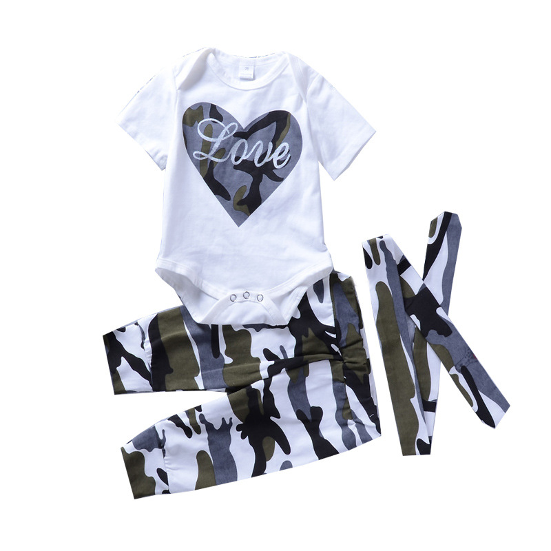 2018 Kids Clothing Baby Boy Clothes Set Suit 3Pcs Heart White Top+Camo Pant+Headband Baby Newborn Toddler Baby Girls Clothes