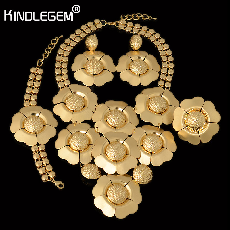 Kindlegem Brand Large Fancy Flower Necklace Earrings Bracelet Ring Set For Women Wedding Bridal Costume Jewels Deluxe Gold Color a suit of gorgeous rhinestoned flower necklace bracelet earrings and ring for women