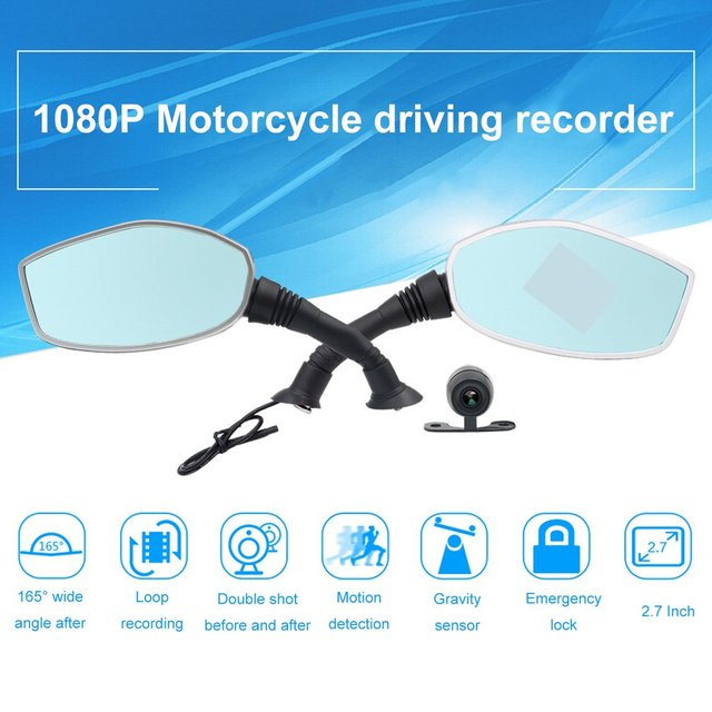 albabkc Motorcycle Rearview Mirror Camera DVR Auto Video Recorder Dash Cam