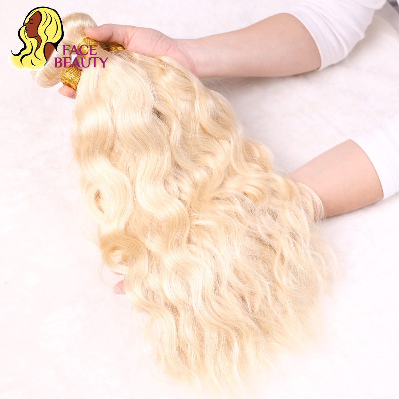 Facebeauty 4 Связки чистая 613 платиновый блондин Цвет Малайзии природных волна Человеческие волосы Связки Weave Волосы Remy Бесплатная доставка
