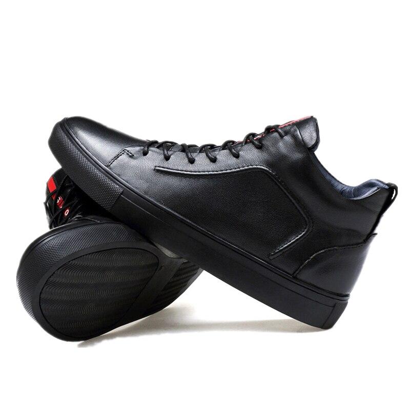 2017 Nye ægte læder mænds skateboardsko High-top Lacing Black Men - Kondisko - Foto 2