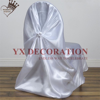 Wholesale Thick Satin Universal Self Tie Chair Cover Banquet Wedding Chair Covers Event Festival Decoration