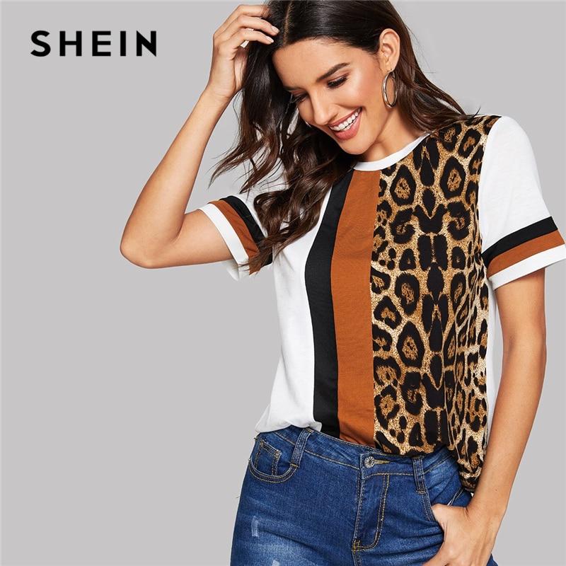 SHEIN bloque de Color blanco de cortar y coser leopardo Panel manga corta cuello Casual, camiseta de las mujeres 2019 de ocio de verano camiseta Tops