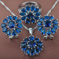 AAA Quality Blue  Stone Women's     925 Sterling Silver Jewelry Sets Necklace Pendant Earrings Rings Free Shipping TZ025