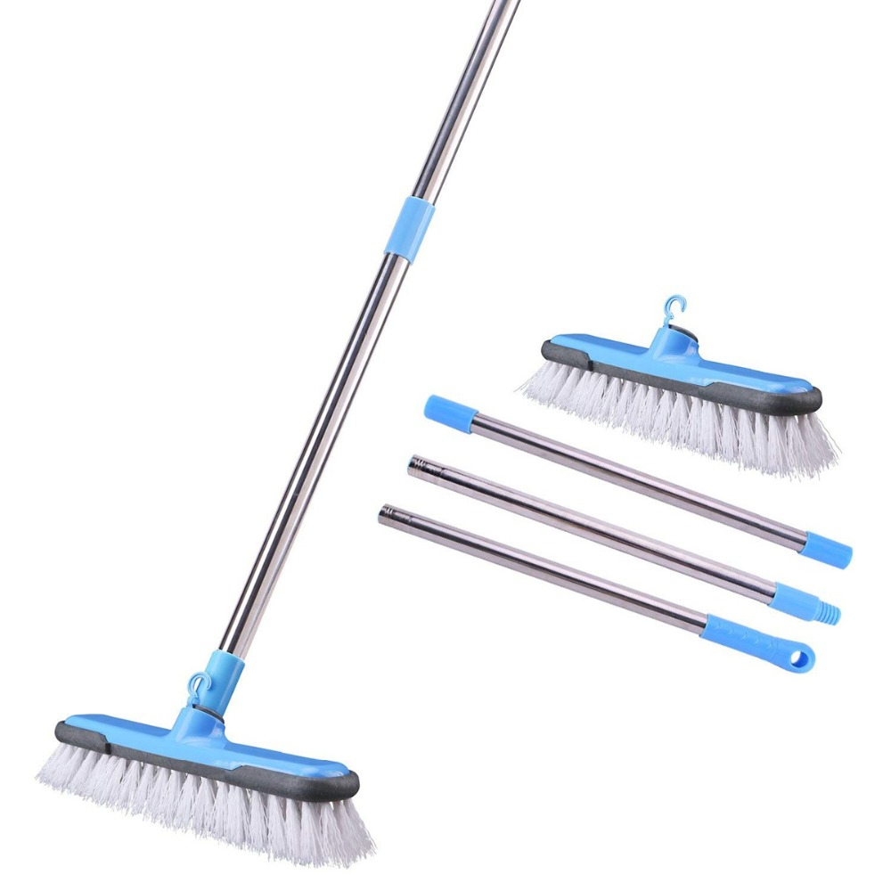 Floor Scrub Brush with Adjustable Long Handle Stiff Bristle Grout Brush  Scrubber for Cleaning Bathroom, Kitchen, Wall,Tub & Tile