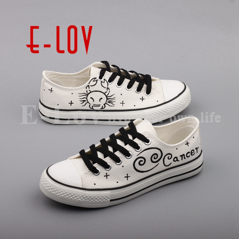 E-LOV Customized Casual Walking Shoes Hand Painted Cancer Constellation Canvas Shoes For Women Graffiti Shoes For Valentine Gift e lov personality luminous casual walking shoes hand painted graffiti aries constellation canvas flats shoes for women