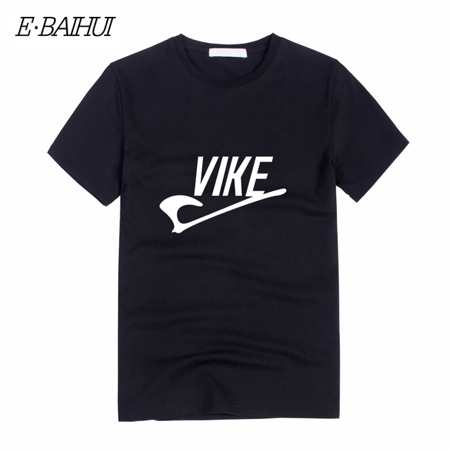 E-BAIHUI nuevo verano vike carta impresión T camisa vikingos hombres fitness t camisa de manga corta de hombre de algodón camiseta diseños camisetas T-10