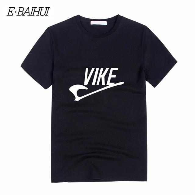 Vike E-BAIHUI nova verão carta de impressão T Camisa Vikings Homens aptidão t shirt Tops de Manga Curta t-shirt do Homem do algodão Projetos tees T-10