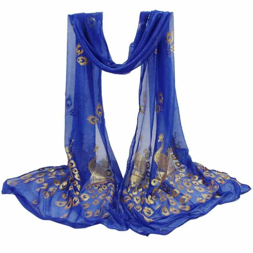 ผู้หญิงผ้าพันคอนกยูงดอกไม้สาวผ้าพันคอผ้าห่มยาวนุ่มห่อ Shawl Stole Cachecol feminino ไนลอนอุปกรณ์เสริมแฟชั่น