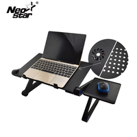 Aluminum Alloy Adjustable Laptop Desk Computer Table Stand Notebook With Cooling Fan Mouse Board For Bed