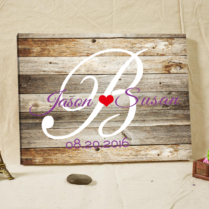 Personalized Wedding Canvas: Personalized Rustic Wedding Guest Book Woodgrain Custom