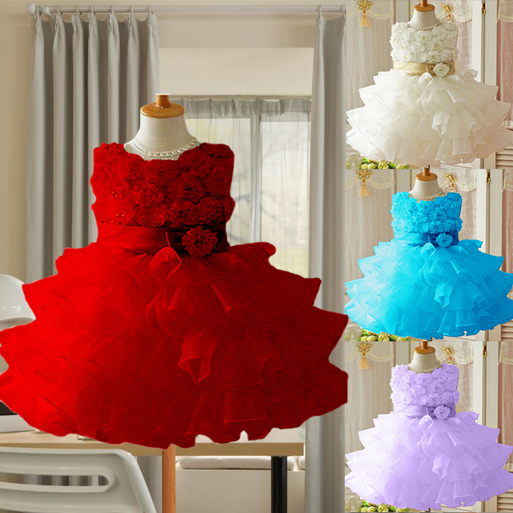 bc80a62601961 2015 New Girls Toddler 3D Flower Tutu Layered Princess Party Bow ...